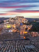 Sunset at the old baroque town of Ragusa Ibla in Sicily. Historic center called Ibla builded in late Baroque Style. Ragusa, Sicily, Italy, Europe. Фото Pilat666-Deposit