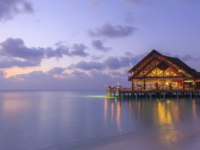 Мальдивы. Anantara Dhigu Resort & Spa, Maldives. Sea Fire Salt at dusk