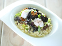 Мальдивы. Gili Lankanfushi Resort, Maldives. Общепит. Wild Mushroom Risotto with Poached Quails Eggs Toasted Almonds