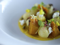 Мальдивы. Gili Lankanfushi Resort, Maldives. Общепит. Handmade Potato and Pumpkin Gnocchi With Goats Cheese and Garden Creaa