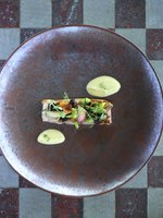 Мальдивы. Gili Lankanfushi Resort, Maldives. Общепит. Smoked Iberico Pork Belly with Green Apple Puree