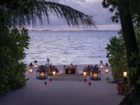 Мальдивы. Shangri-La Villingili Resort & Spa. Arabic Dine by Design on the beach Sunset