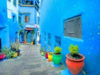 Марокко. Шефшауен. Scenic view of narrow street with colorful flowerpots in old medina of blue town Chefchaouen. Morocco, North Africa. Фото Bareta - Depositphotos