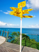 Signpost in the Stirling Point - world distances measured from the world's southernmost signpost in Bluff, New Zealand. Фото janong054 - Depositphotos