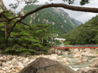 Северная Корея. Mount Kumgang. North Korea. Iron bridge over mountain river. Фото Mieszko9 - Depositphotos