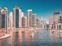 ОАЭ. Дубай. Район Дубай Марина. Panoramic views of the Marina district in Dubai. UAE. Фото frantic00 - Depositphotos