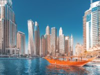 ОАЭ. Дубай. Район Дубай Марина. Panoramic view of the Marina district. Dubai. UAE. Фото frantic00 - Depositphotos