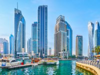 Dubai Marina from the harbor of Bristol Charter, surrounded by cafes and restaurants in Dubai. Фото efesenko - Deposit