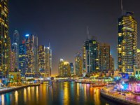 ОАЭ. Дубай. Район Дубай Марина. Panorama of the modern Dubai Marina in Dubai. Фото efesenko - Depositphotos