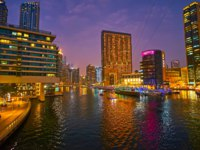 ОАЭ. Дубай Марина. Panoramic evening skyline of the fashionable district of Dubai Marina in Dubai. Фото efesenko - Dep