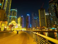 ОАЭ. Дубай Марина. Panoramic evening skyline of the fashionable district of Dubai Marina in Dubai. Фото efesenko - Depo