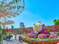 ОАЭ. Дубай. Сад чудес. Miracle Garden grounds with scenic teapot installation, colorful flower beds and large sunshades in Dubai. Фото efesenko - Depositphotos