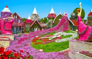 ОАЭ. Дубай. Сад чудес. Цветочные часы. The fairy tale installation with flower clock, Dutch houses, decorated with colored petunias, Miracle Garden Dubai. Фото efesenk