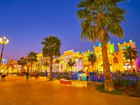 The palm alley sretches along the canal of Global Village Dubai in front of the brightly illuminated trade pavilions of different countries in Dubai. Фото efesenko-Deposit