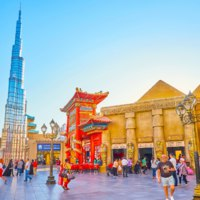 ОАЭ. Дубай. The Global Village Dubai contains the most popular world's buildings, such as Pyramids of Egypt, Burj Khalifa tower of Dubai. UAE. Фото efesenko - Dep
