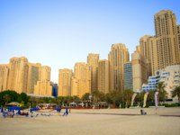 ОАЭ. Дубай. Джумейра Бич Резидентс. Panoramic view of Jumeirah Beach Residence skyscrapers. Urban beach. Фото ViktoriyaF - Depositphotos