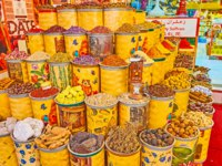 The spice stall of Bur Dubai Grand Souq (bazaar, market) offers fragrant herbs, dried flowers and exotic Eastern spices in Dubai. Фото efesenko - Deposit