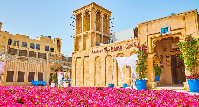 The carpet-like petunia flower bed in front of Arabian tea house in Al Bastakiya (Al Fahidi) neighborhood. Фото efesenko - Deposit