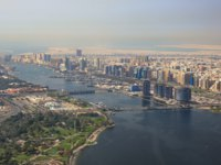 ОАЭ. Дубай. Канал Крик. Dubai The Creek Floating Bridge aerial view photography. Фото Boarding2Now - Depositphotos