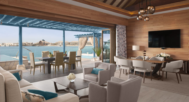 Катар. Banana Island Resort Doha by Anantara. Two Bedroom Overwater Villa Living Room