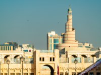 Катар. Доха. Skyline of Souq Waqif with Islamic Cultural Center in Doha, the capital of Qatar. Фото Leonid_Andronov - Depositphotos