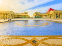 "Катар. Доха. Этнографическая деревня ""Катара"". Katara Mall at Katara Cultural Village reflecting in a tiled pool in West Bay District. Фото bennymarty - Deposit"
