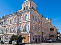 Архитектура Астрахани. House Refurbished or reconstructed houses in the city center. The architecture of the old city Astrakhan city. Фото Rostovdriver - Depositphotos