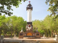 Россия. Памятники Астрахани. A monument to military seamen in the city park in the spring afternoon. Astrakhan. Russia. Фото serg6legion - Depositphotos