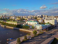 Россия. Панорама Екатеринбурга. Panorama of the city pond of the city of Yekaterinburg. Russia. Фото MaykovNikita - Depositphotos