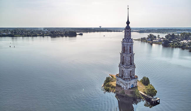 Россия. Тверская область. Калязин. Колокольня. Kalyazinskaya bell tower of St. Nicholas Cathedral in the water. Kalyazin, Tver region. Фото detukov_sergey-Deposit