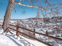 Золотое кольцо России. Плес. Town of Plyos on the banks of the Volga river, Russia. Winter view from the Cathedral Mountain, birch tree. Фото mike_laptev-Dep