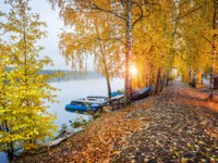 Золотое кольцо России. Плес. Cobblestone embankment of the Volga in the early gray morning in a red autumn Ples and blue boats. Фото yulenochekk - Depositphotos