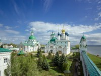 Россия. Ростов Великий. Top view of Dimitrievsky Cathedral and Zachatievsky of the Spaso-Yakovlevsky Monastery timelapse in Rostov. Фото neiezhmakov-Depo