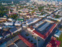 Россия. Ярославская область. Рыбинск. Top view of Rybinsk on a July morning (aerial photography). Yaroslavl region, Russia. Фото sikaraha - Depositphotos