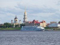 Россия. Ярославская область. Рыбинск. River cruise ship Alexander Green historical centre of Rybinsk july evening. Yaroslavl region. Фото sikaraha-Deposit