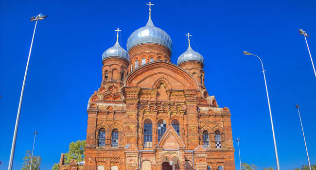Ярославль. Даниловский Казанский монастырь. Russia Cathedral Icon Mother God Kazan Danilov monastery village Hill Danilovsky district Yaroslavl region. Фото SergeyS - Depositphotos