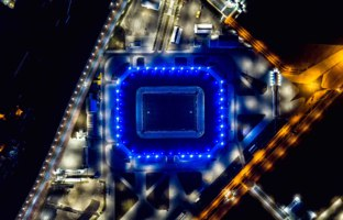 Стадион Калининград.Night aerial view of the stadium Kaliningrad built in 2018 specifically for the matches of the 2018 World Cup. Фото MaykovNikita-Deposit