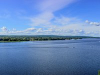 Россия. Карелия. Остров Кижи. Panoramic shot of Lake Onega from the bell tower of the Kizhi Pogost. Kizhi island, Onega lake, Karelia. Фото A_Mikhail-Depositph