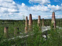Россия. Карелия. Горный парк Рускеала. Old brick pipes of abandoned marble factory in Ruskeala, Karelia republic, Russia. Фото Observer-Deposit