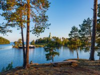Beautiful view of the entrance to the bay of the Valaam Monastery and St. Nicholas Skete. The island Valaam is located on Lake Lodozhskoye. Фото GeneralSky-Deposit