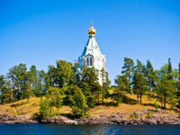 Россия. Карелия. Остров Валаам. View to Saint Nicholas Skete in Valaam, Russia. Фото nikascorpionka-Depositphotos