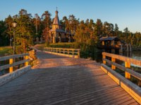 Wooden bridges connect small islands. The wonderful island Valaam is located on Lake Lodozhskoye, Karelia. Фото GeneralSky-Depositphotos