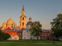Spaso-Preobrazhensky Cathedral, courtyard view. The wonderful island Valaam is located on Lake Lodozhskoye, Karelia. Фото GeneralSky-Depositphotos
