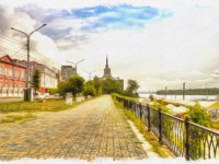 Россия. Открытка с видом Красноярска. Krasnoyarsk. Urban view. Yenisei river and the city street. Oil paint on canvas. Фото ppl1958 - Depositphotos