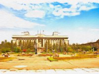 Россия. Открытка с видом Красноярска. Administrative building on the square in city Krasnoyarsk. Oil paint on canvas. Фото ppl1958 - Depositphotos