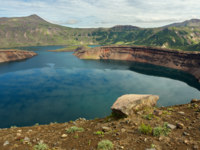 Россия. Камчатка. Lake in the Caldera volcano Ksudach. South Kamchatka Nature Park. Фото yykkaa -Depositphotos