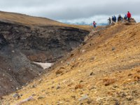 Клуб путешествий Павла Аксенова. Россия. Камчатка. Tourists during the ascent to the active volcano Mutnovsky in Kamchatka. Фото yykkaa -Depositphotos