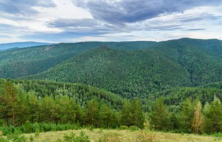 Россия. Красноярские столбы. View on Takmakovsky district in valley of Bazaikha Rive. Russian reserve Stolby Nature Sanctuary. Near Krasnoyarsk. Фото