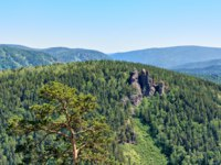 Россия. Красноярские столбы. Rock massif Ermak. Mixed forest near rocks. Stolby Nature Sanctuary (Pillars). Krasnoyarsk region. Russia. Фото zhaubasa
