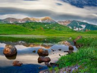 Россия. Курильские острова. Mountain landscape at Paramushir Island, Kuril Islands, Russia. Фото Byelikova - Depositphotos